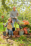 Happy  family with vegetables harvest Stock Image