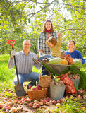 Happy  family with vegetables harvest Stock Photography