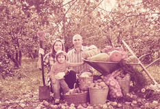 Happy  family with vegetables harvest. Happy parents and child with  harvested vegetables in garden Stock Image