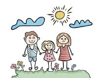 Happy family kids artistic drawing Stock Photo