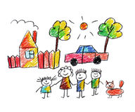 Happy family. Very happy family kids drawing Royalty Free Stock Images