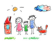 Happy family. Very happy family kids drawing Stock Images
