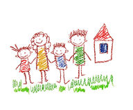 Happy family. Very happy family kids drawing Royalty Free Stock Image