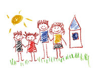 Happy family. Very happy family kids drawing Stock Photography