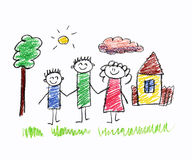 Happy family. Very happy family kids drawing Stock Image