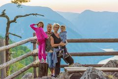 Happy family on the viewpoint of the Banjska stena on the mountain Tara.  Stock Image