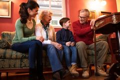Family visiting grandparents, lovely happy smiling big family royalty free stock photos