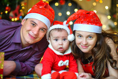 Happy family waiting for a holiday stock image