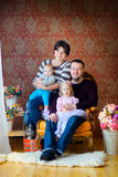 Happy family waiting for a holiday stock images