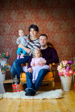 Happy family waiting for a holiday royalty free stock image