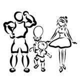 Happy family a walk, holiday, black pattern royalty free illustration