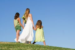 Happy family walking Royalty Free Stock Photos