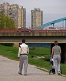 Happy Family Walking. Family walking into cityline stock image