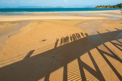 Happy family walking on the beach Royalty Free Stock Photos
