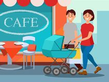 Happy family walking in city center. Young mother pushing baby carriage, father carrying shopping bags. Cafe facade on. Background. Cartoon people characters Stock Image