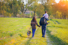 Happy family walking with dog. Happy family walking with a dog on the field Royalty Free Stock Photo