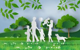 Happy family walking on the field Royalty Free Stock Image