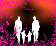 Happy family walking in garden. A silhouette illustration of a happy family taking a stroll, framed by pink floral/vine framing Royalty Free Stock Images