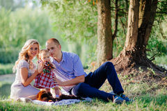 Happy family are walking in the green summer park. Picnic Royalty Free Stock Images