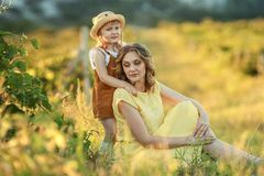 A Happy family walking history. mother and baby hugging in a meadow yellow flowers on nature in summer.  royalty free stock photos