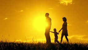 Happy family is walking holding hands one after another. stock footage