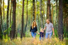 Free Happy Family Walking In Beautiful Evening Park Stock Image - 131754261