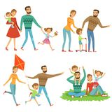 Happy family walking in park. Funny characters set in cartoon style. Happy people family in park, mother and father. Vector illustration Stock Image