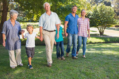 Happy family walking in the park. On a sunny day Royalty Free Stock Photography