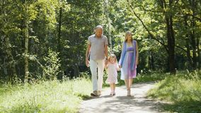 Happy family walking in the park at sunny day Royalty Free Stock Photo