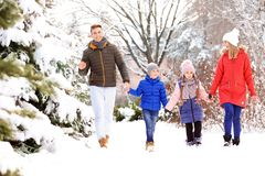 Happy family walking in   park. Happy family walking in winter park Royalty Free Stock Images