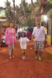 Happy family walking at street. And holding hands together Royalty Free Stock Images