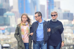 Happy family walking in the streets of San Francisco Royalty Free Stock Photos