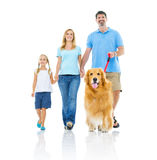 Happy Family Walking Together Stock Photo