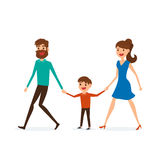 Happy family walking together and hold in hand. Father mother and son. Flat design style. Royalty Free Stock Photo