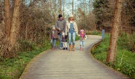 Happy family walking together holding hands in the forest. Happy family walking together holding hands over a wooden pathway into the forest Stock Photography