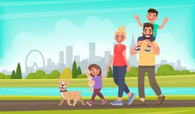 Happy family walks around the city park. Father, mother, son and daughter together outdoors. Vector illustration. In cartoon style Royalty Free Stock Image
