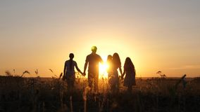 Happy family walks in field in sunset light. Dad mom and daughters are walking in park in the light of sun. children and stock footage