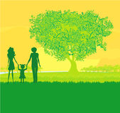 Happy family walks on nature Royalty Free Stock Photos
