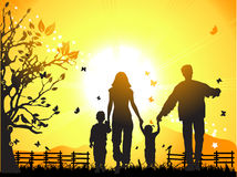 Happy family walks on nature,  Stock Photos