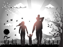 Happy family walks on nature Stock Photos