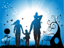 Happy family walks on nature Stock Photo