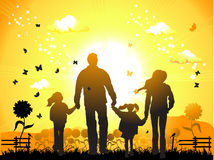 Happy family walks on nature Royalty Free Stock Images
