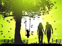 Happy family walks on nature Royalty Free Stock Image