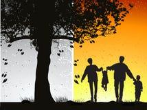 Happy family walks on nature Stock Photography