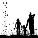 Happy family walks on nature Stock Image