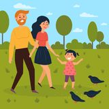 Happy family walks outdoors and feeds pigeons. Mother, father and daughter in ther park. Summer of spring season leisure time. Vector illustration in a flat Royalty Free Stock Image