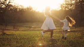 Happy family walks in the spring meadow stock images