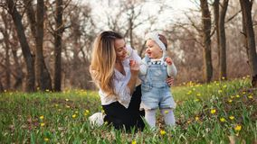 Happy family walks in the spring meadow. Toddler gives mom a forest tulip. Young attractive women sniff the scent of a flower presented by a cute daughter for stock photo