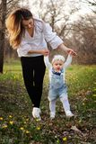 Happy family walks in the spring meadow royalty free stock photography