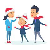 Happy Family in Warm Clothes on White Background. Happy family in warm clothes on white. Vector illustration of family with child who wear Christmas red hats Stock Images